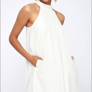 One Clothing White Halter Mini Dress